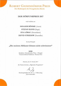Urkunde Robert-Geisendörfer-Preis 2017